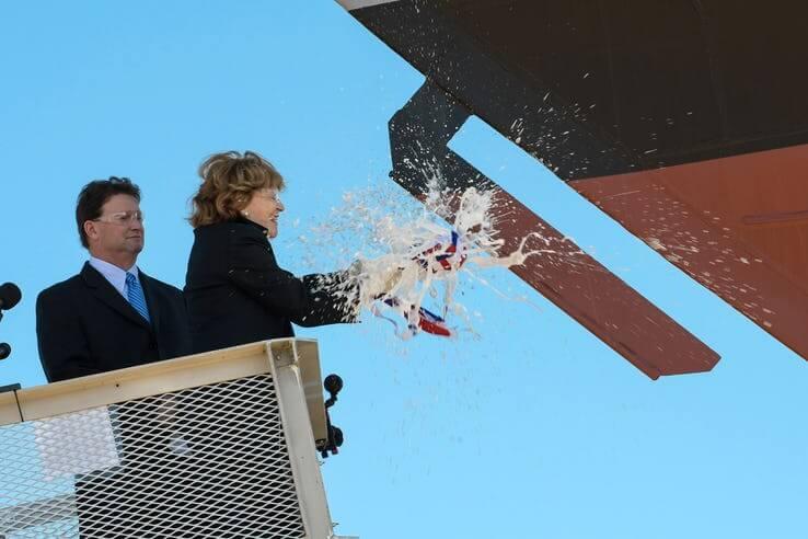 Ship-sponsor-Kate-Lehrer-Bottle-Break