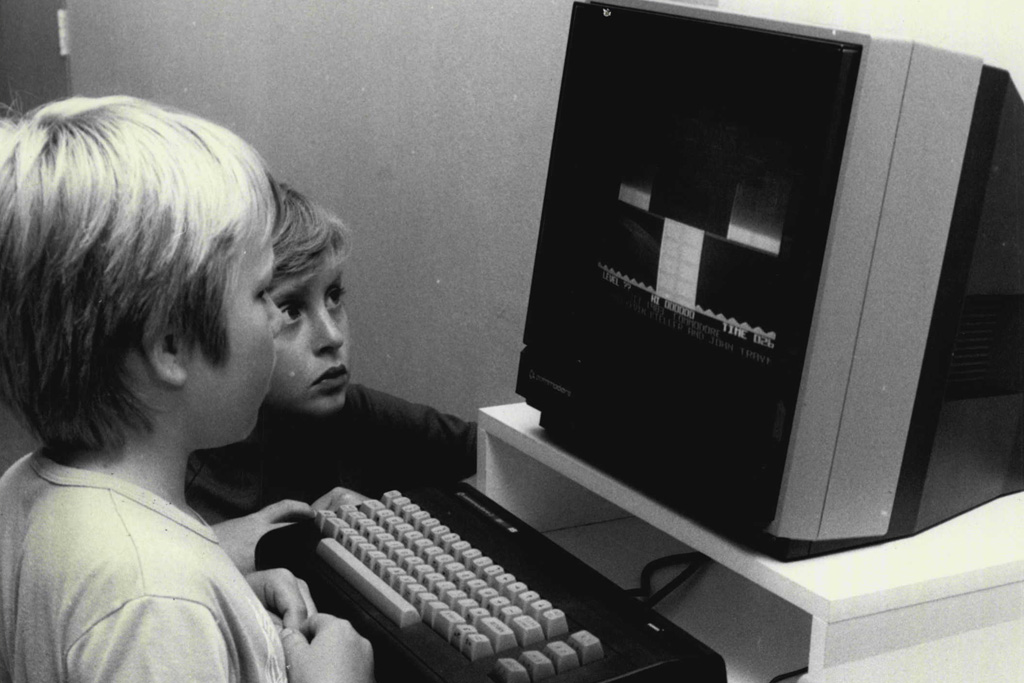 kids and a computer in the '80s