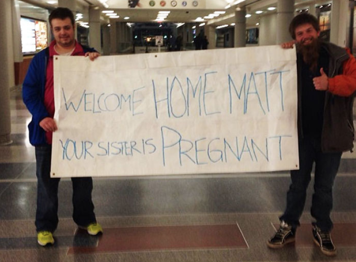 Sister is pregnant airport sign