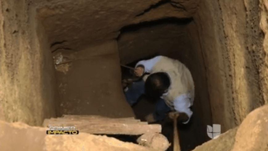 reporter climbing down