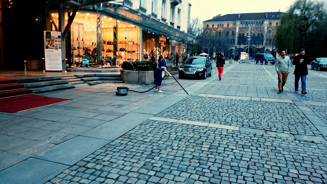 vacuuming the street
