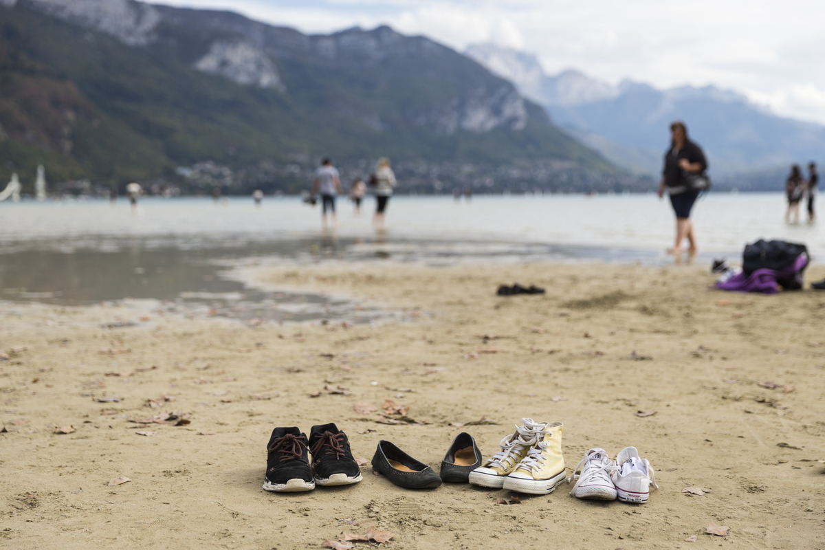 Lake Annecy Reaches A Low Level Due To Summer Heat