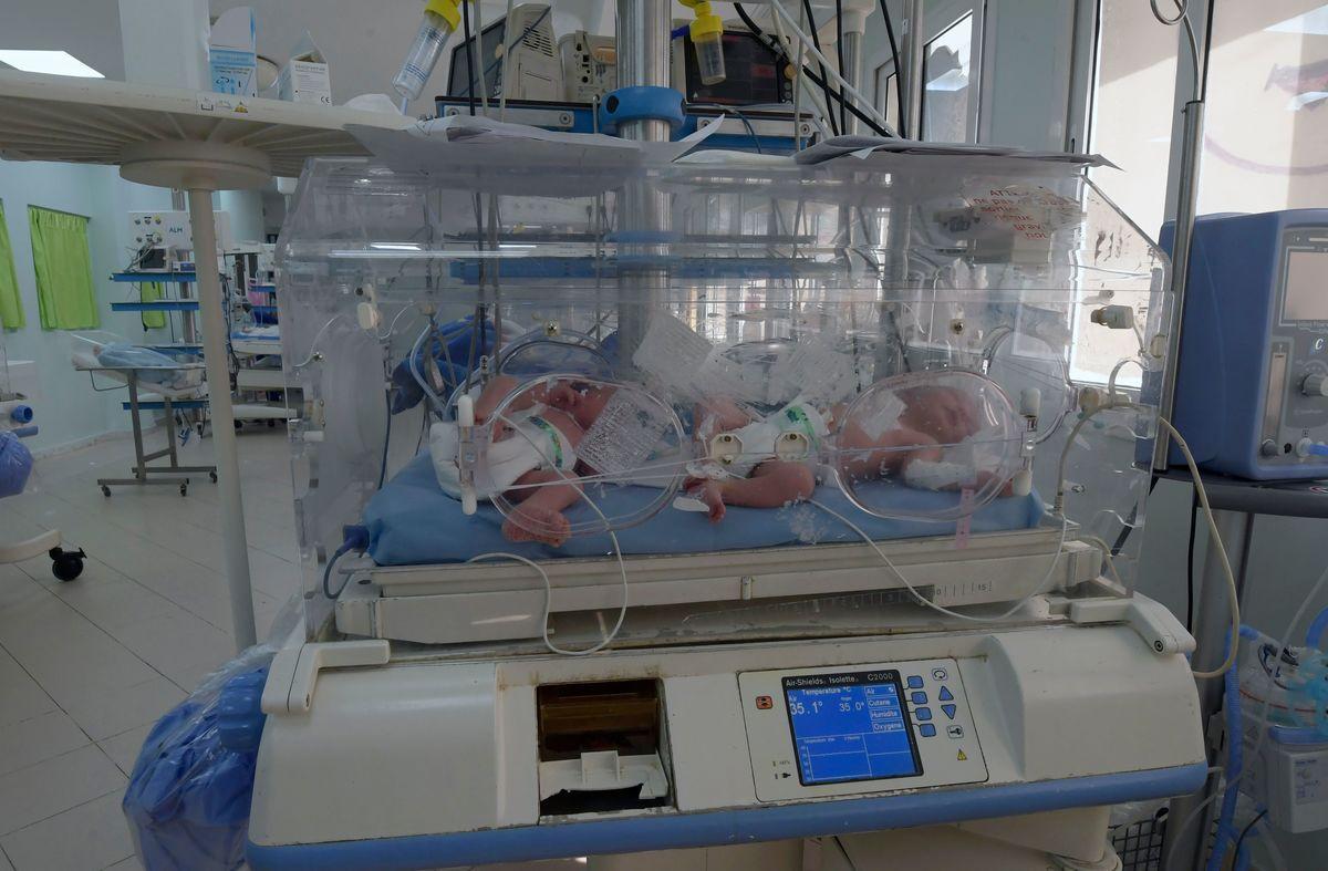 babies inside incubators at the maternity ward of the Rabta hospital