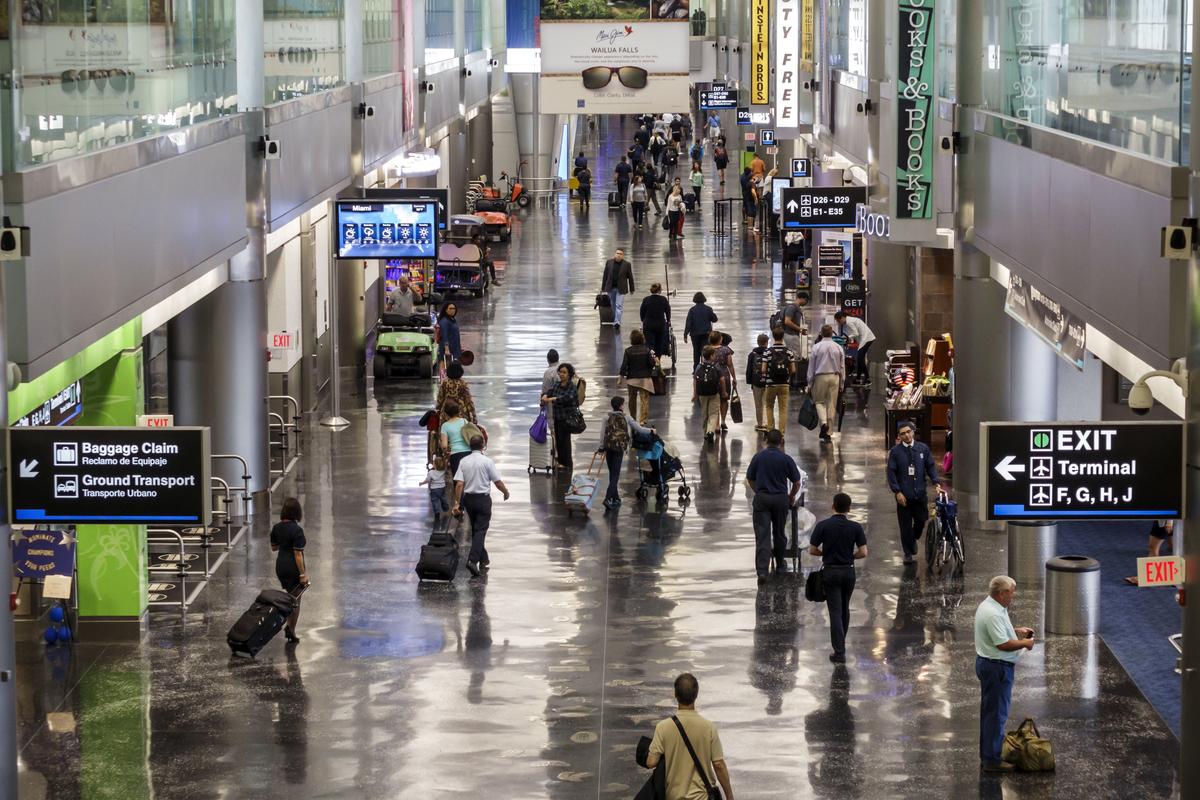 The gate area inside Miami International Airport.