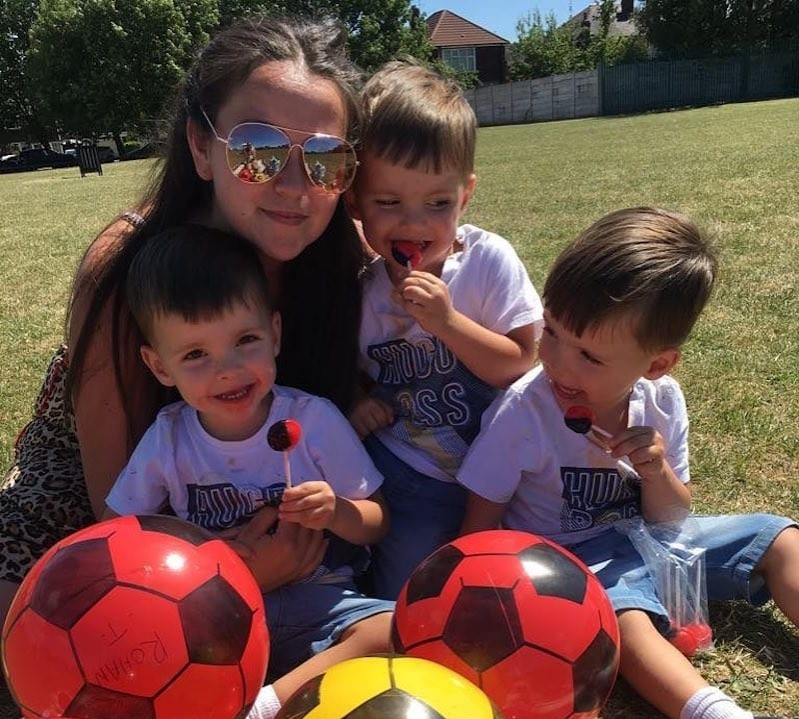Becki-Jo Allen with her identical triplet sons Roman, Rocco and Rohan playing soccer
