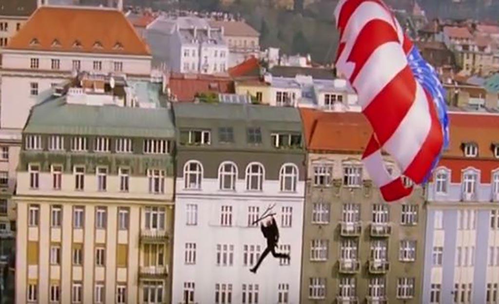 Zip line stunt