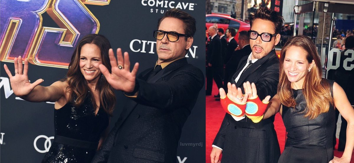 rdj and his wife on red carpets