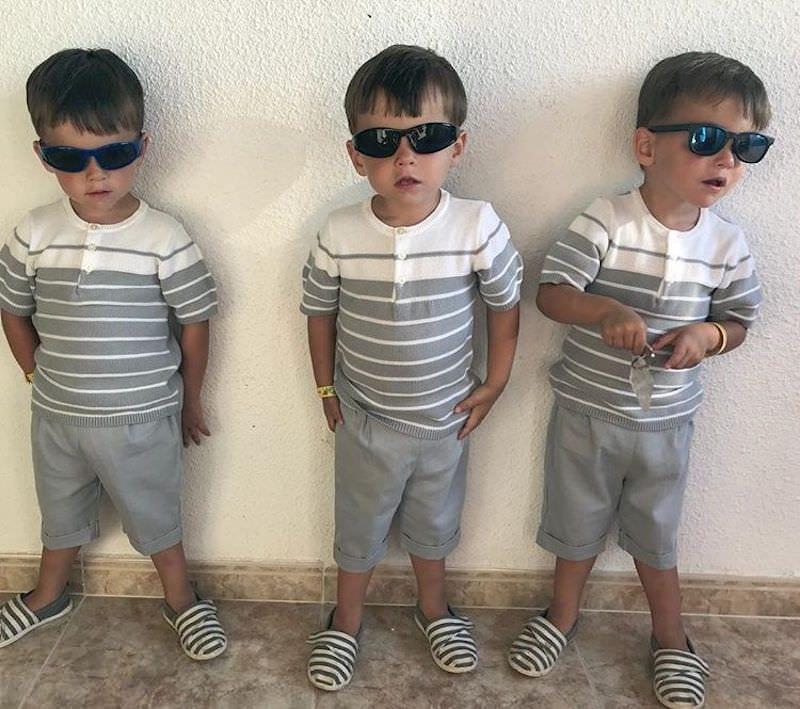 Identical Triplets Allen Boys looking cool wearing sunglasses