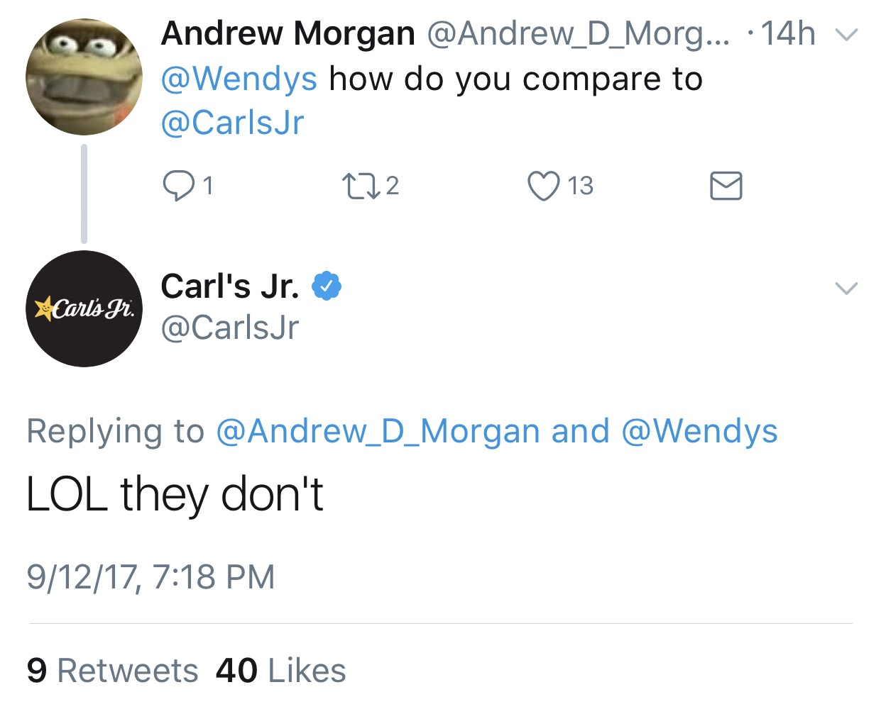 carls jr replies to wendys challenge