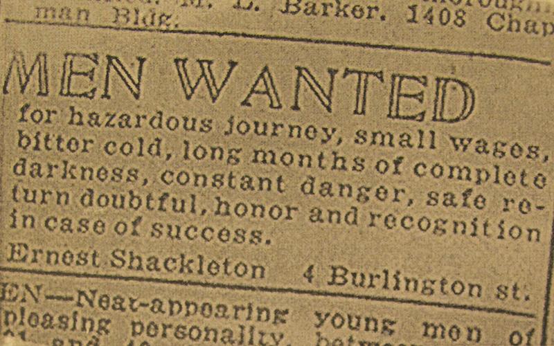 ernest shackleton job listing