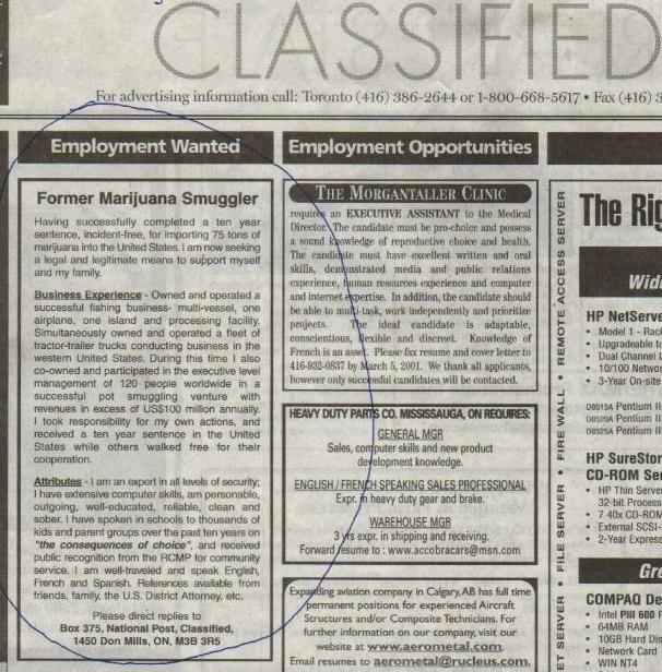 former marijuana smuggler newspaper ad
