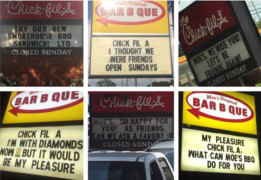 moes bar b que vs chik-fil-a sign wars