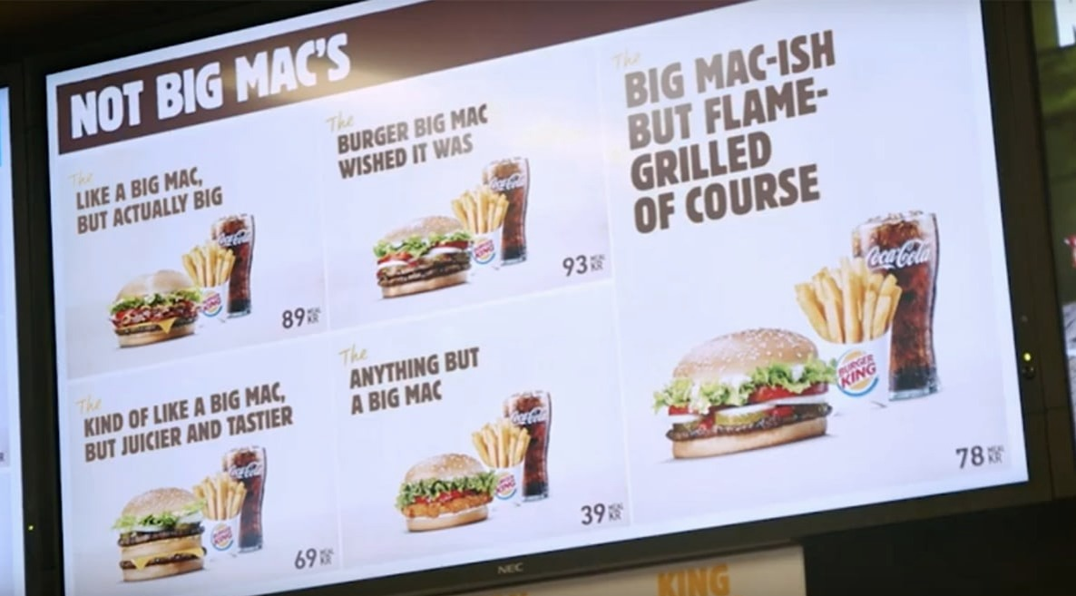 not big mac menu swedish burger king parodying mcdonalds