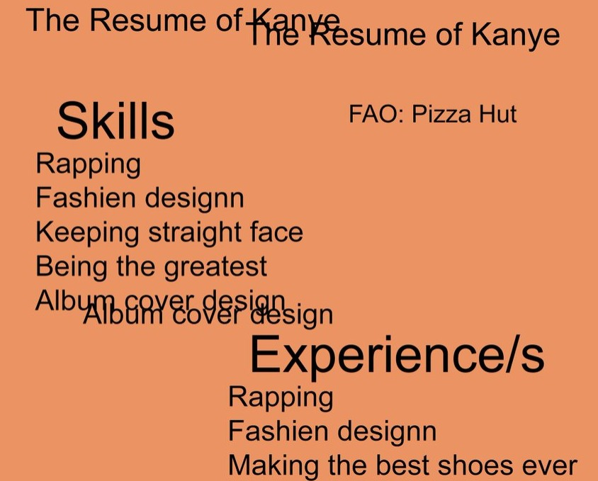 pizza hut fake kanye west resume roast