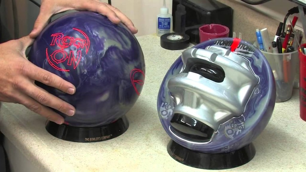 bowling ball in half to show core