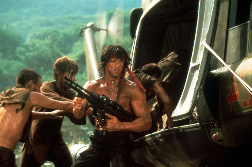 John Rambo getting into a helicopter