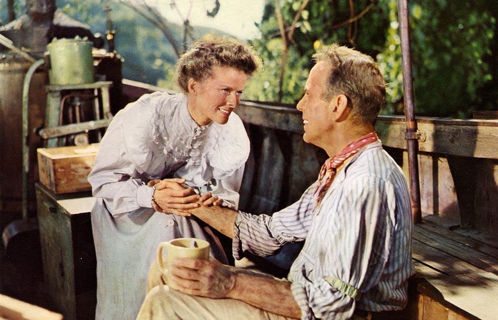 Katherine Hepburn and Humphrey Bogart on the set