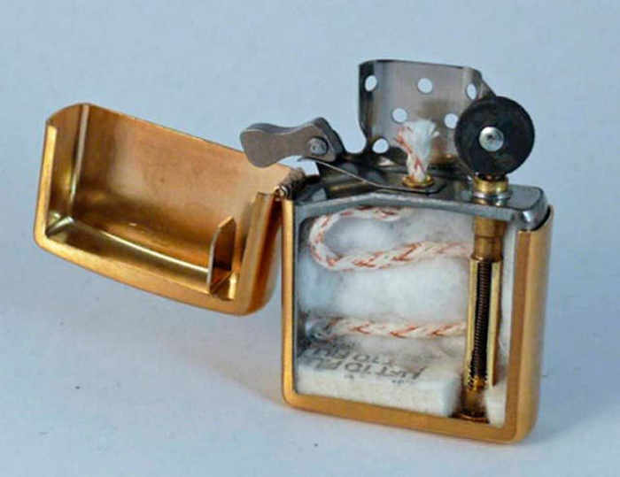 zippo lighter cut in half