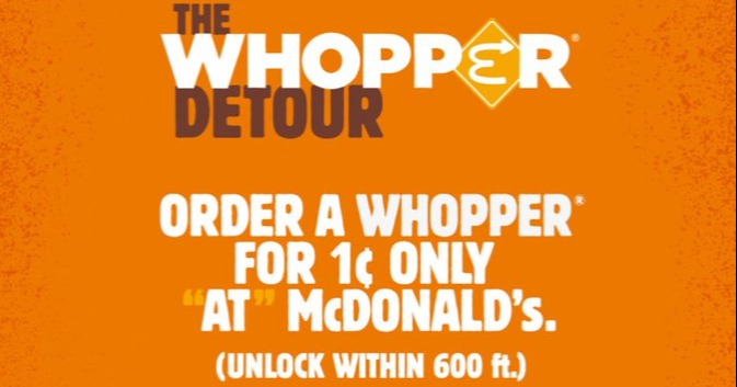 whopper detour promo burger king feuds mcdonalds