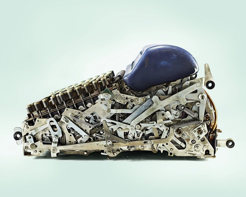 half of the mechanical calculator machine