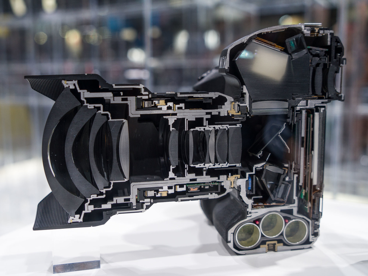 camera cutaway in half