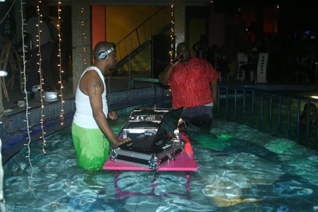 Party Animals with electronics in pool