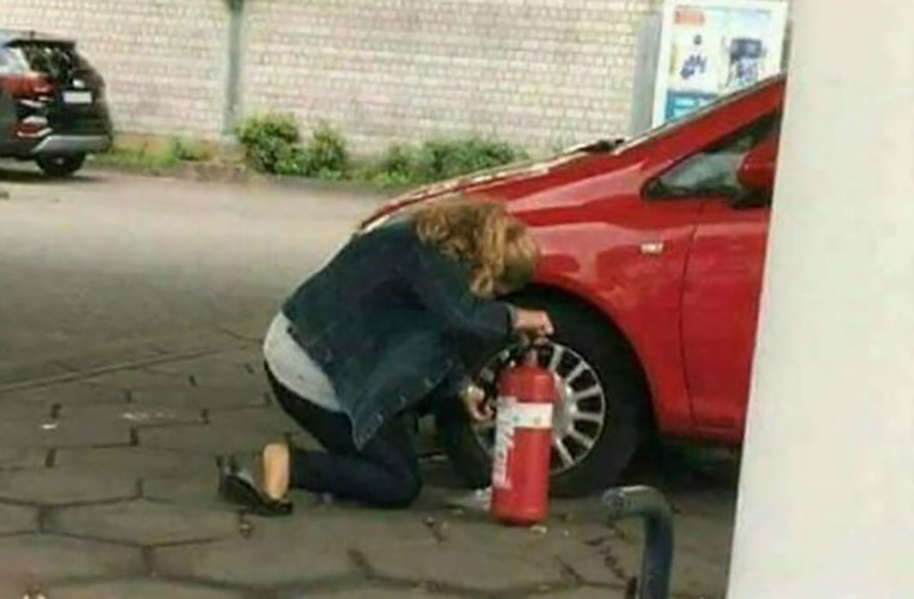filling tire with a fire extinguisher