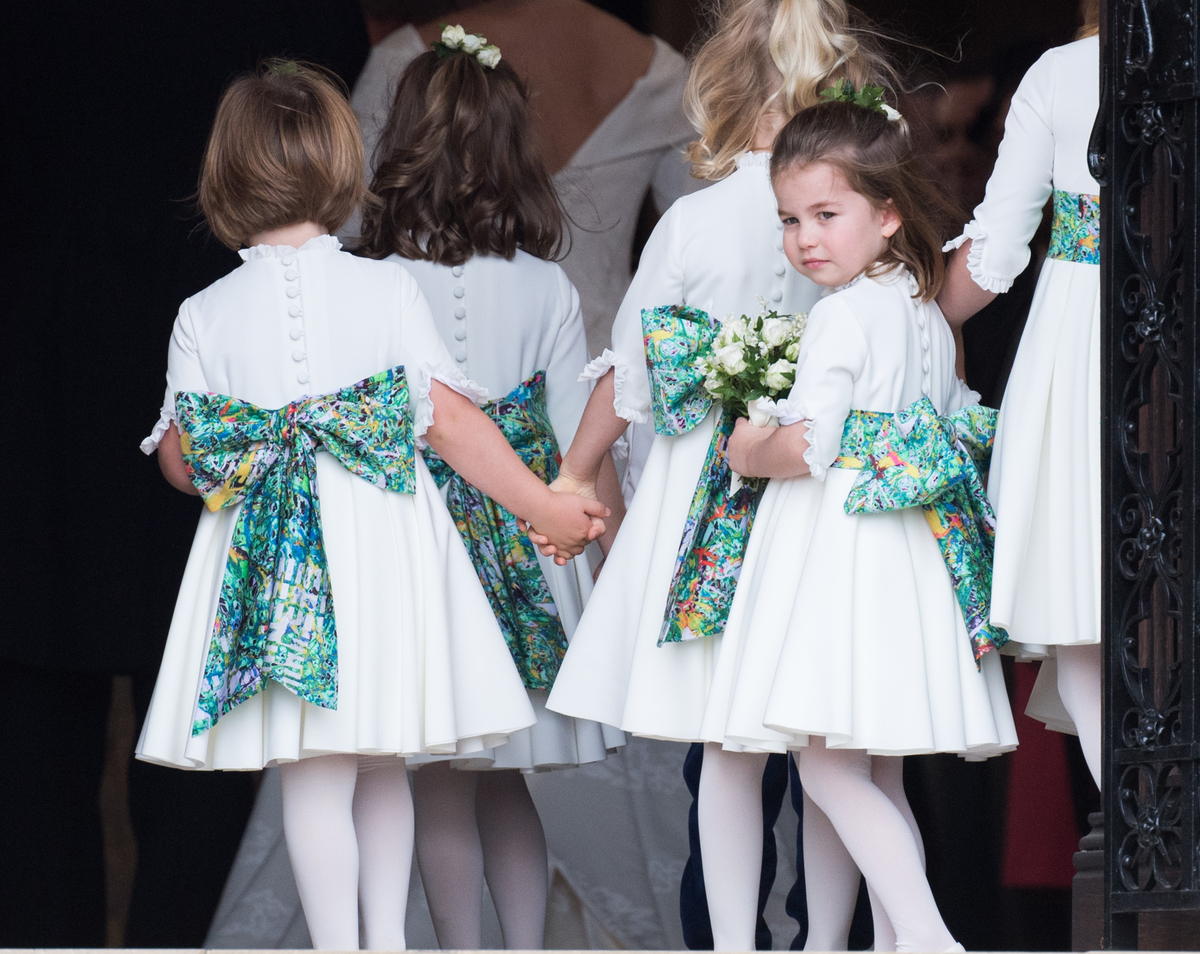 Princess Charlotte of Cambridge attends the wedding of Princess Eugenie of York and Jack Brooksbank