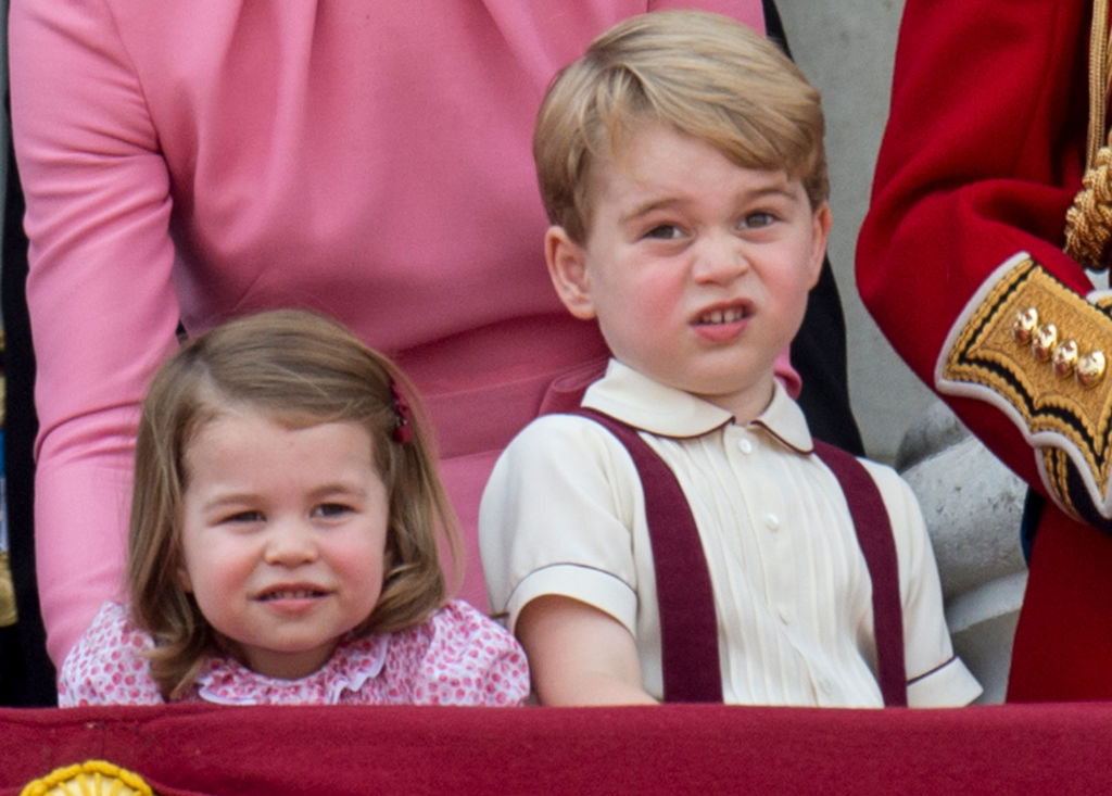 Prince George of Cambridge and Princess Charlotte of Cambridge on the balcony at Buckinghgam Palace