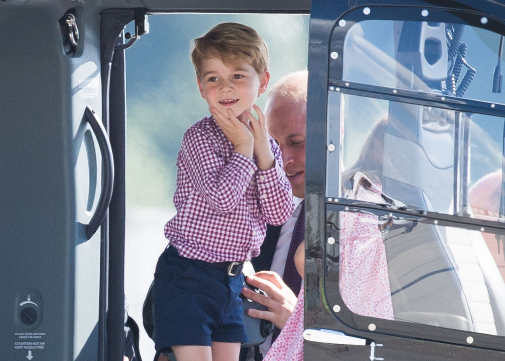 Prince George of Cambridge views helicopter models H145 and H135