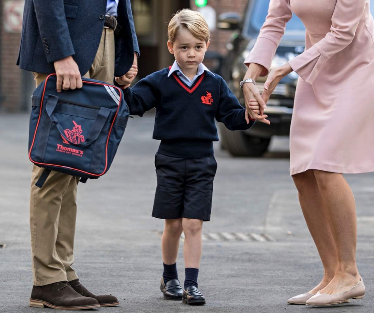 rince George of Cambridge arrives for his first day of school