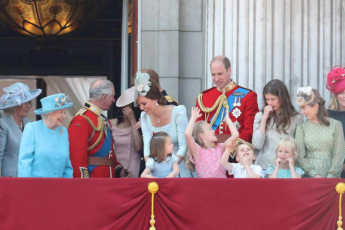 Camilla, Duchess Of Cornwall, Queen Elizabeth II, Meghan, Duchess of Sussex, Prince Charles, Prince of Wales, Catherine, Duchess of Cambridge, Prince William, Duke of Cambridge, Princess Charlotte of Cambridge, Savannah Phillips, Prince George of Cambridge and Isla Phillips