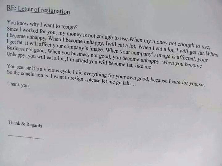resignation letter explaining that employee will get too fat