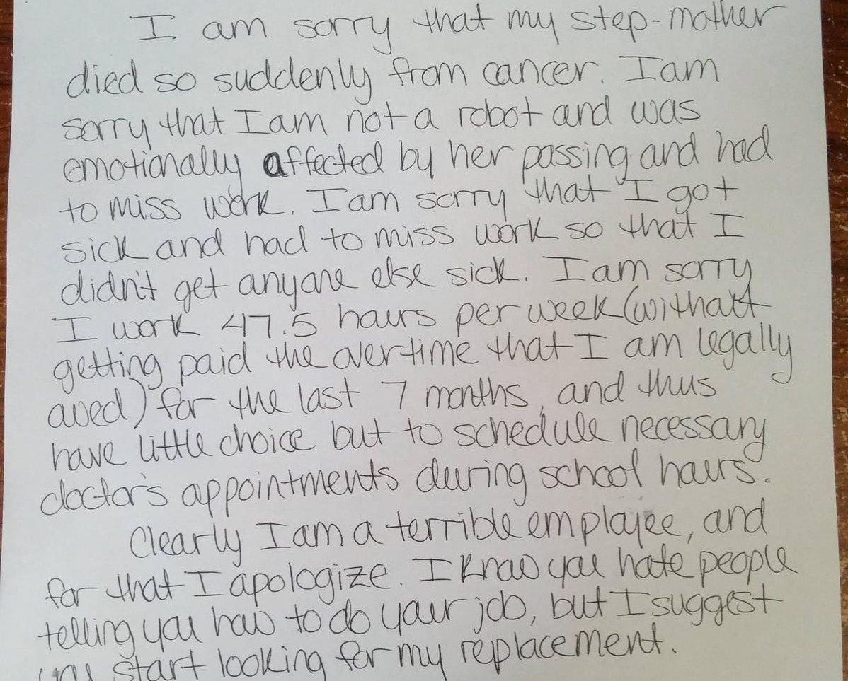letter apologizing for the death of family member which caused work absence