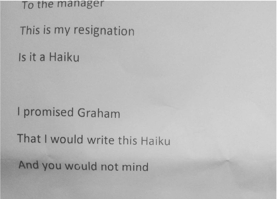 This Resignation letter is in the form of a haiku