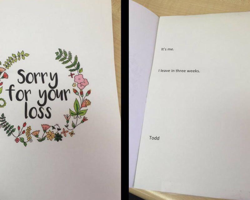 This sympathy card says