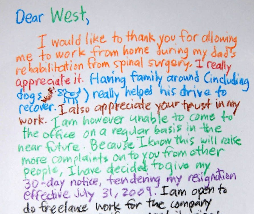 man resigned by writing a letter in crayon