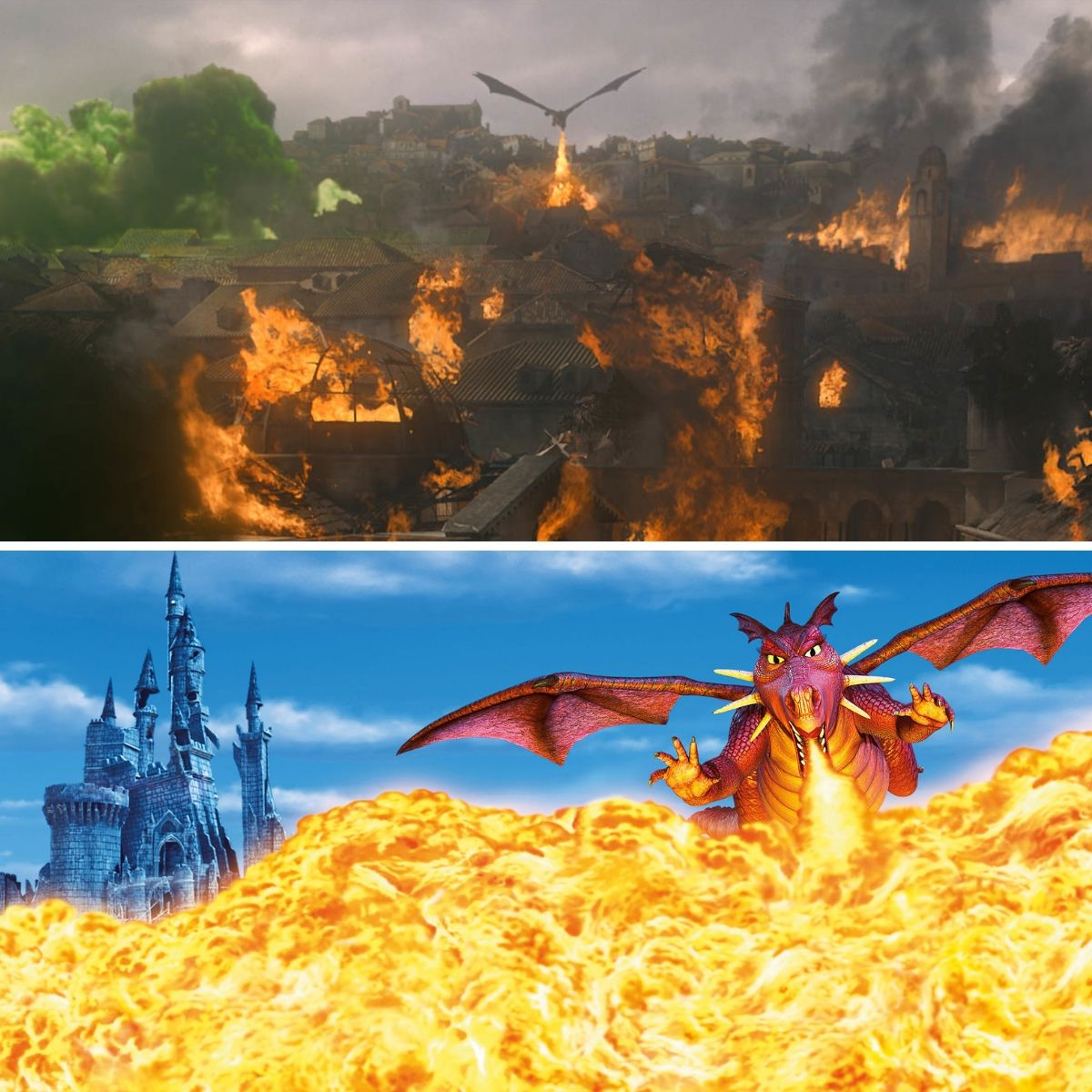 grogon and dragon lighting cities on fire