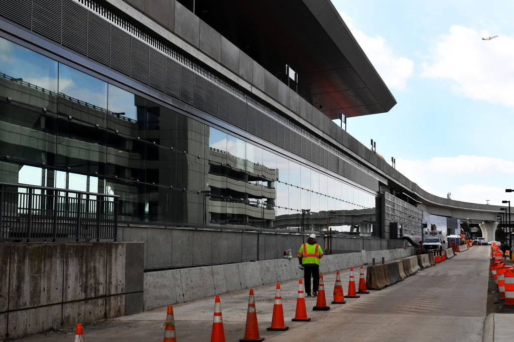 Construction on Metro's Silver Line at Dulles Airport