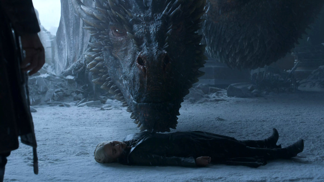 where does drogon go in game of thrones finale