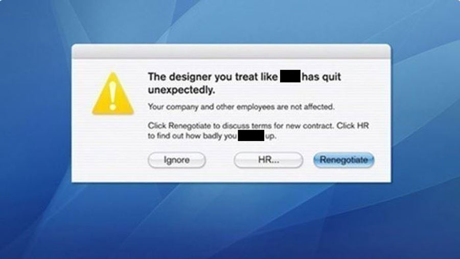 designer created a pop up on her employer's computer