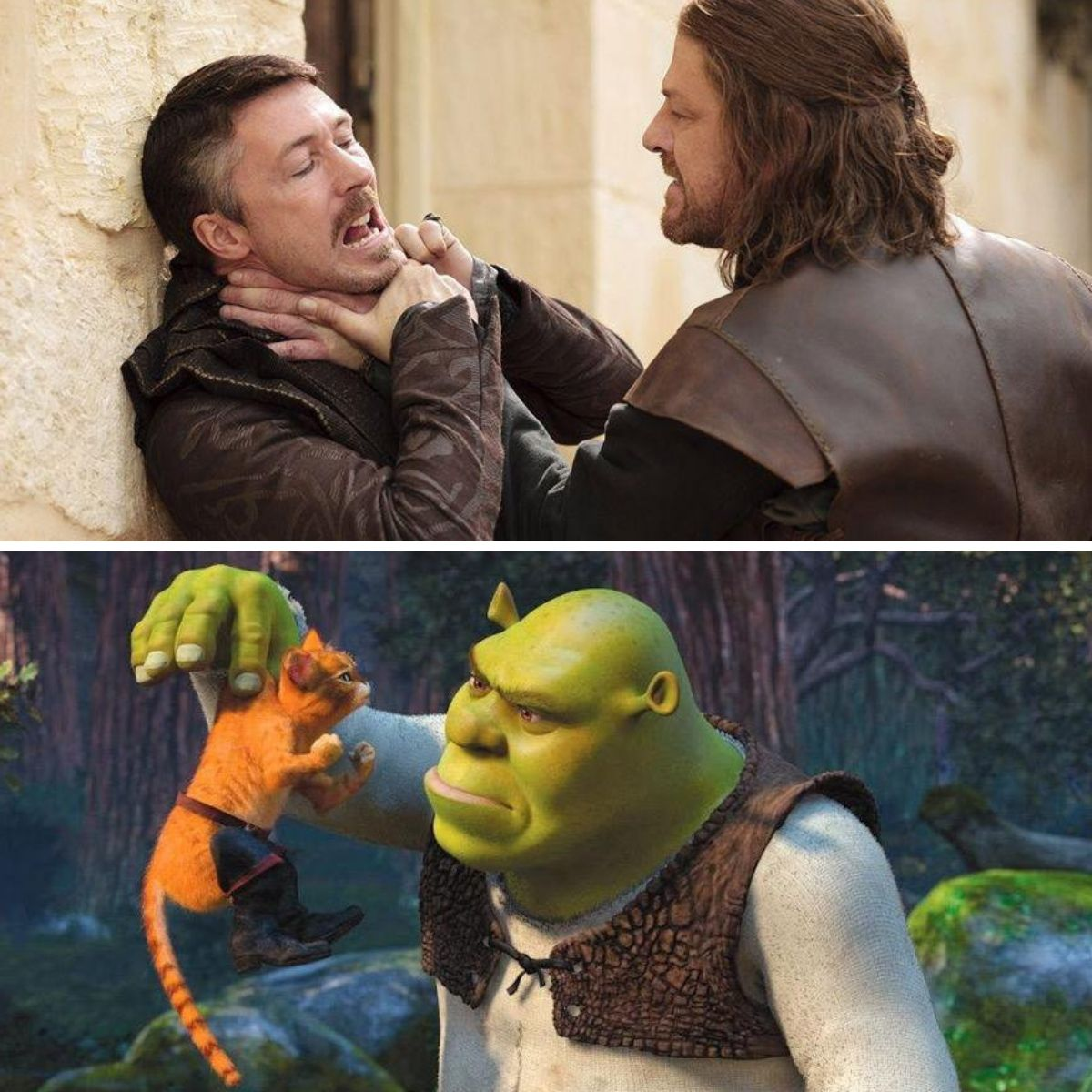 ned and shrek against littlefinger and puss in boots
