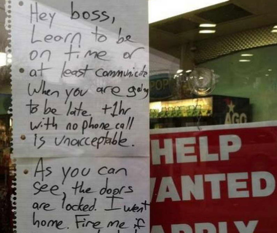 a resignation letter taped to a store window
