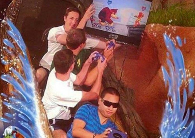 playing super smash bros on splash mountain