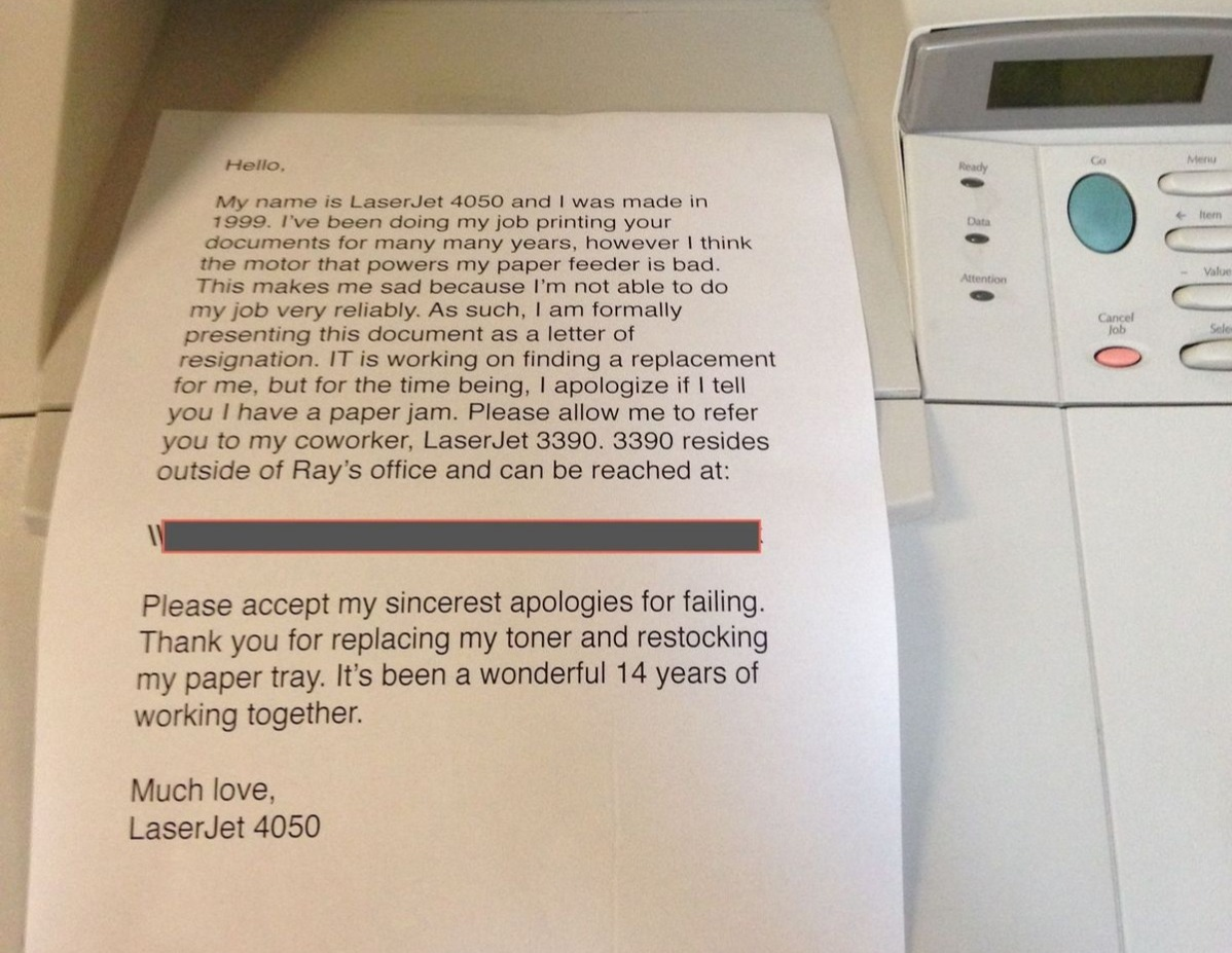 a letter from a printer that's