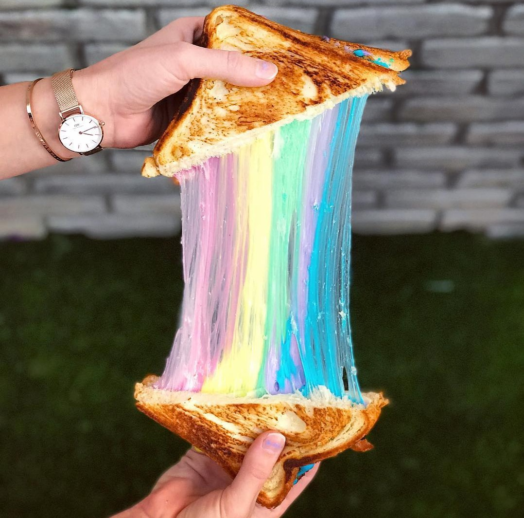 Rainbow grilled cheese stretch