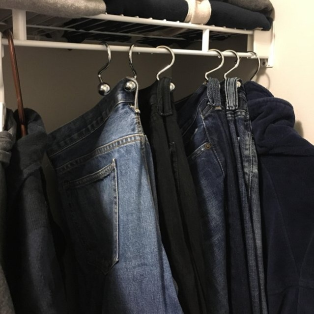 use shower curtain hooks to hang jeans hack