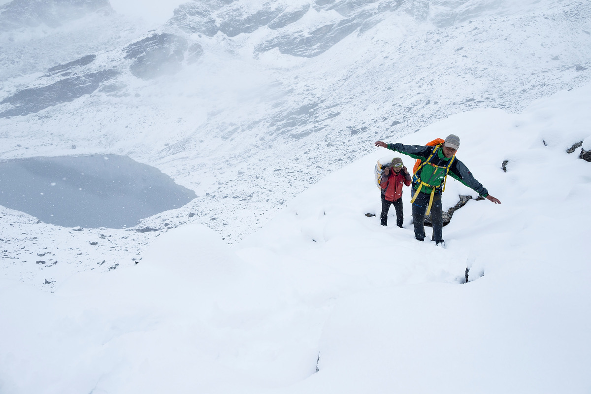Two hikers climb Mt. Everest