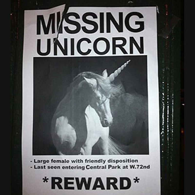 Missing Unicorn that somebody really wants to find.