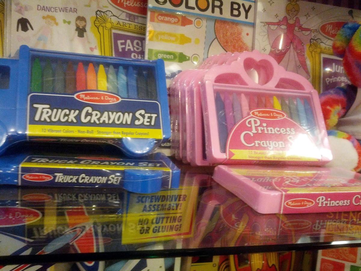 blue truck crayon set and pink princess crayon set